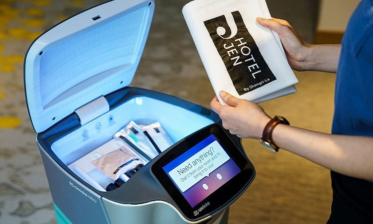 Relay robots are being used for room service in Singapore